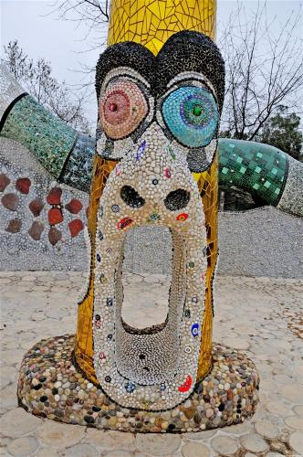 Queen Califia's Magical Circle Garden (Escondido, CA): Yelling Man Totem, frontal view looking south into the open mouth