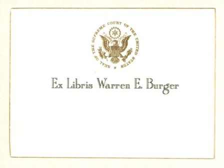 Bookplate of Chief Justice Warren Burger