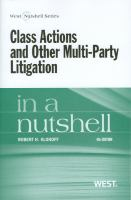 Class Actions and Other Multi-Party Litigation in a Nutshell