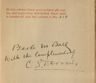 Clarence Darrow's inscription to Pearl Ball