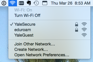 image of SSID selection options at Yale
