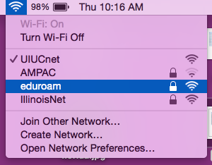 eduroam SSID option at University of Illinois