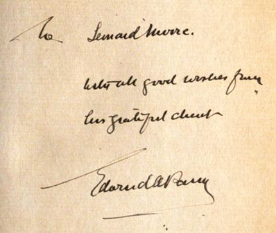 Edward Abbott Parry's inscription to Leonard Moore