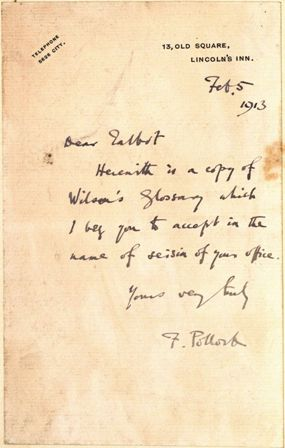 Sir Frederick Pollock, inscription to Arthur Raynard Talbot