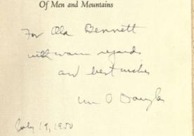 Justice William O. Douglas, inscription to Olla Bennett