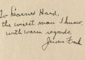 Jerome Frank's inscription to Learned Hand