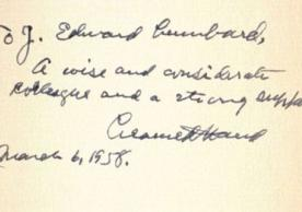 Learned Hand's inscription, to Judge Edward Lumbard