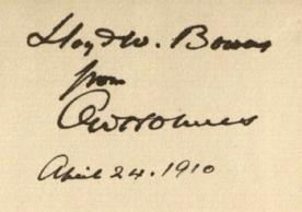 Inscription of Justice O. W. Holmes Jr. to Lloyd Bowen