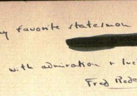 "Fred Rodell, inscription to ""Mayor La Guardia"""