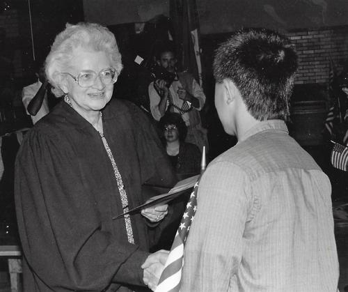 Honorable Ellen Bree Burns during a Naturalization Ceremony