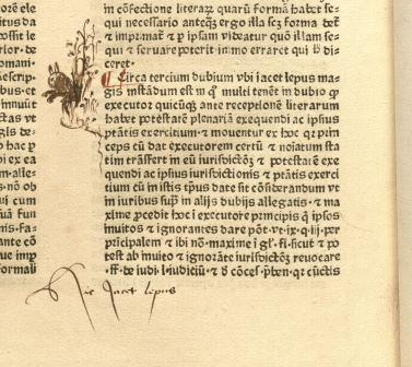 Hic iacet lepus, rabbit drawn in the margins of a canon law text.