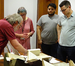 Students viewing early American legal manuscripts