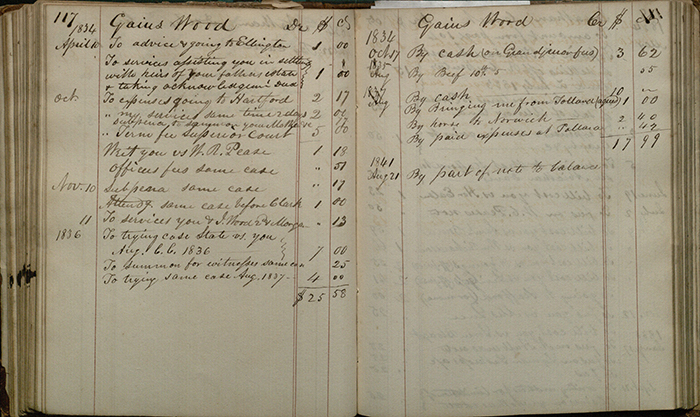 Pages from Aholiab Johnson's law practice ledger, 1840