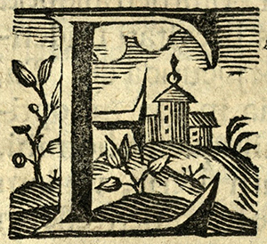 "Woodcut initial ""E"", Germany, 1736."