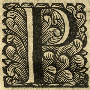 "Woodcut initial ""P"", Netherlands, 1711."
