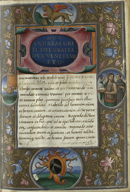 Institutio in potestatem civitatis Bergomi data Laurentii Venerio ab Andrea Griti duce Venetiarum. 1524.