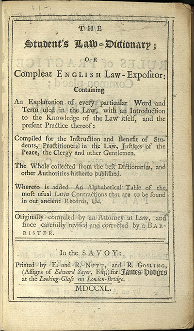 The student's law-dictionary (1740)