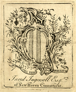 Bookplate of Jared Ingersoll Senior, an early New Haven lawyer