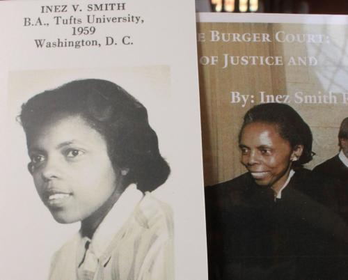 Photo of Judge Inez Smith Reid as a law student and as a judge.