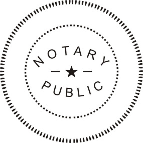 Circle with the words notary public enclosed
