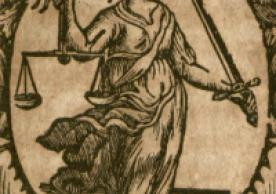 An image of Justice blindfolded holding scales and a sword