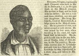 Portrait of Cinque, from Documents relating to the Africans taken in the Amistad (1840)