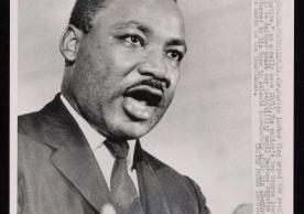 "Crawfordville, Ga. Dr. Martin Luther King..."" speaking to rally. Photograph from Beinecke Rare Book & Manuscript Library"