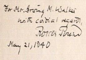 Roscoe Pound's inscription to Irving M. Walker